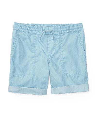 Cotton Twill Parachute Shorts, Naples Blue, Size 2-4