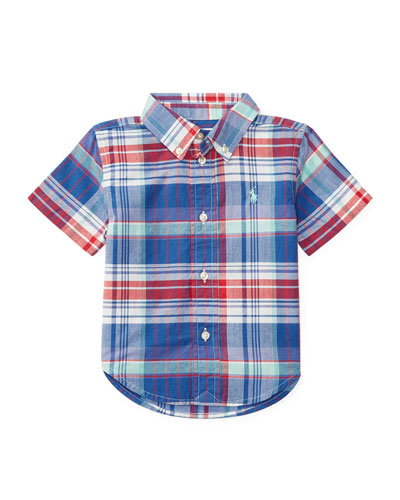Short-Sleeve Madras Plaid Cotton Shirt, White/Blue/Multicolor, Size 9-24 Months