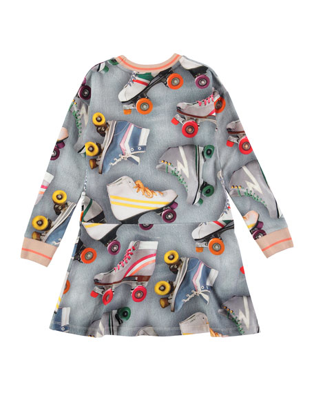 Conny Roller Skating Fit-and-Flare Dress, Blue/Multicolor, Size 2T-12