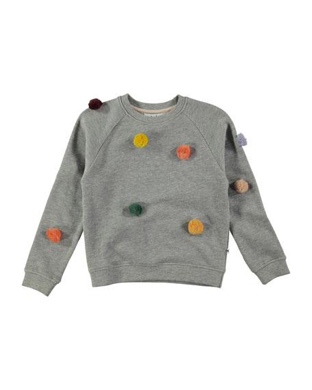 Marcelle Raglan Pompom Sweatshirt, Gray, Size 4-14