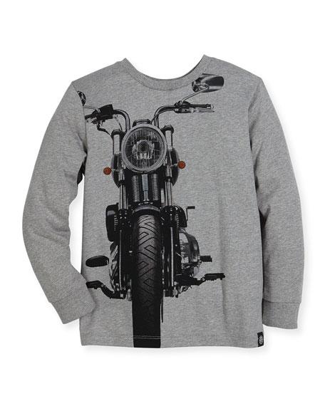 Rickey Biker Pullover Sweatshirt, Gray, Size 4-12