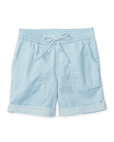Cotton Twill Parachute Shorts, Naples Blue, Size 9-24 Months