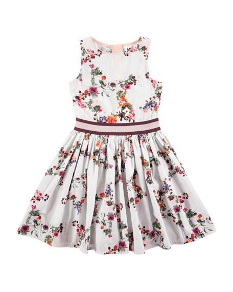 Molo Carli Flower Stars Poplin Dress, Pink, Size