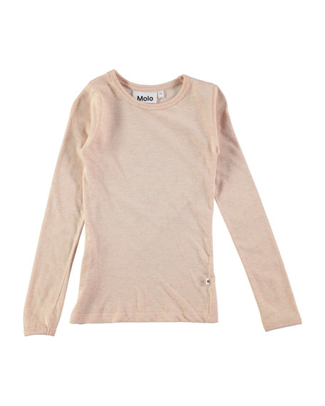 Molo Ramona Long-Sleeve Metallic Jersey Tee, Blush, Size