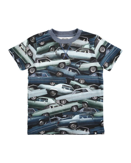 Molo Ralphie Stacked Cars Jersey Tee, Blue, Size