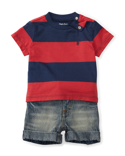 Striped Jersey Tee w/ Faded Shorts, Red/Blue, Size 9-24 Months