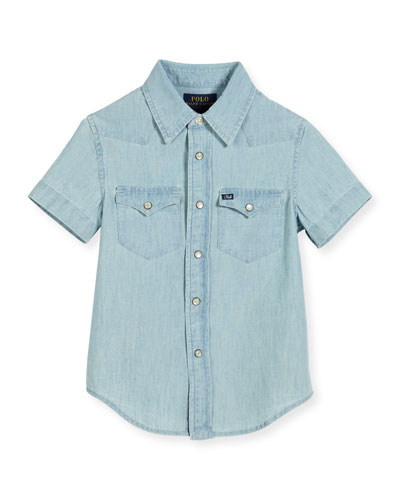 Short-Sleeve Chambray Western Shirt, Light Blue, Size 2-4