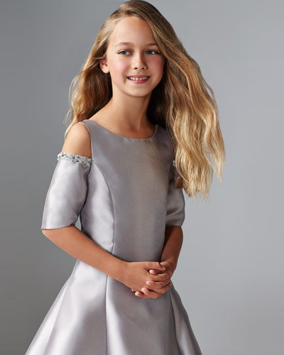 Emme Cold-Shoulder Fit-and-Flare Dress, Silver, Size 7-16