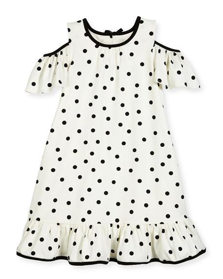 kate spade new york girls' cold-shoulder polka-dot dress,