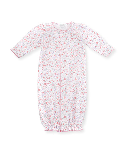 Fall Blossoms Convertible Pima Sleep Gown, Pink, Size Newborn-Small