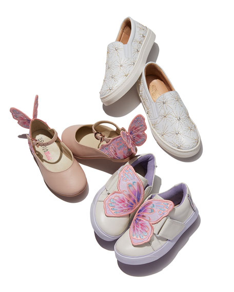 Bibi Embroidered-Butterfly Low-Top Sneaker, Toddler/Youth Sizes 5T-2Y