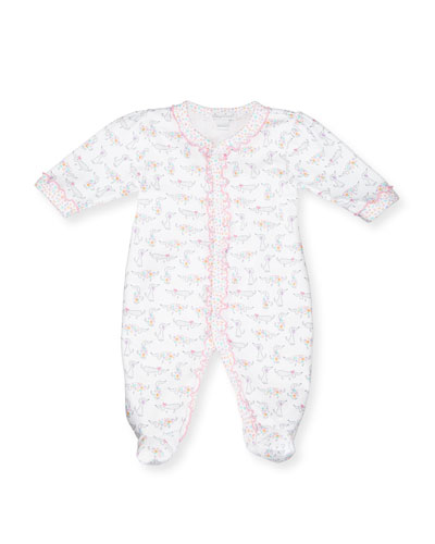 Darling Dachshunds Pima Footie Pajamas, White/Pink, Size Newborn-9 Months
