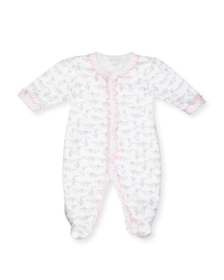 Kissy Kissy Darling Dachshunds Pima Footie Pajamas, White/Pink,