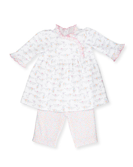 Darling Dachshunds Pima Dress w/ Leggings, White/Pink, Size 9-24 Months