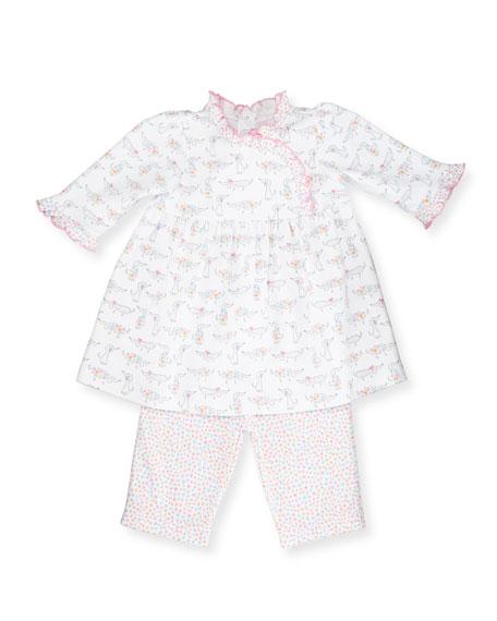 Darling Dachshunds Pima Dress w/ Leggings, White/Pink, Size 9-24 Months