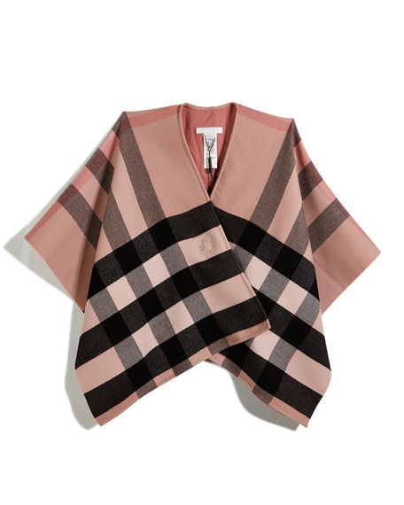 Girls' Charlotte Check Wool Poncho