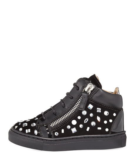Girls' London Velvet & Crystal Mid-Top Sneaker, Infant/Toddler
