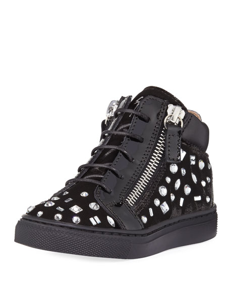 Giuseppe Zanotti Girls' London Velvet & Crystal Mid-Top