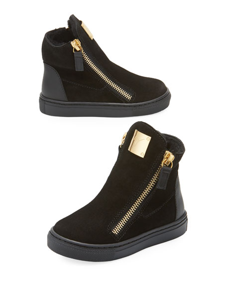 Giuseppe Zanotti Girls' London Laceless Suede High-Top Sneaker,