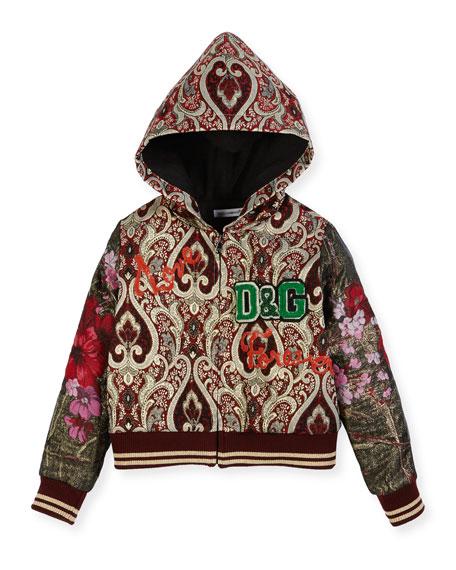 Dolce & Gabbana Brocade Zip-Up Hoodie, Size 4-6