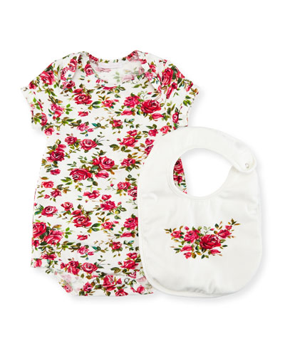 Rose-Print Playsuit w/ Bib, Size 3-18 Months