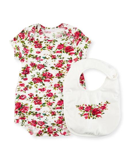 Dolce & Gabbana Rose-Print Playsuit w/ Bib, Size