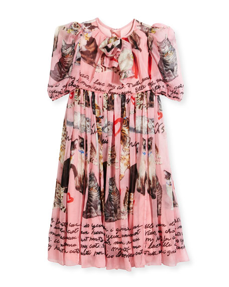 Dolce & Gabbana Chiffon Cat-Print Dress, Size 4-6