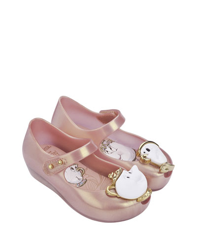 Ultragirl Beauty and the Beast® Mary Jane Flat, Pink Metallic, Toddler Sizes 5-10