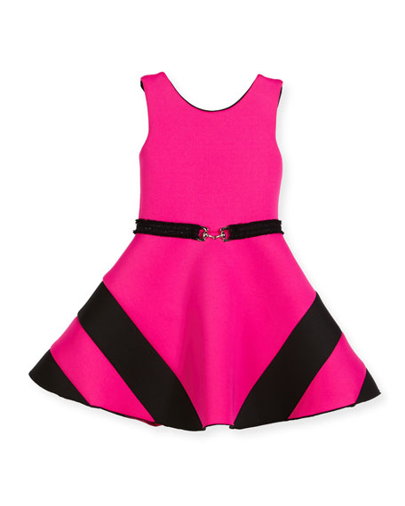 Colorblock Belted Dress, Hot Pink, Size 7-16