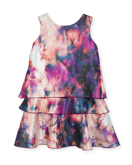 Watercolor Tiered Shimmer Dress, Pink, Size 7-16