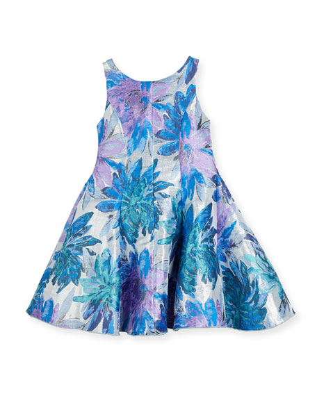 Zoe Blue Dahlia Metallic Floral Brocade Dress, Size