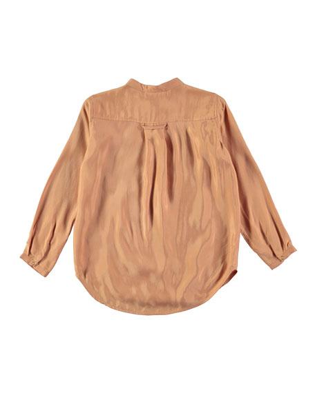 Rafa Velvet Rose Long-Sleeve Blouse, Pink, Size 3T-14