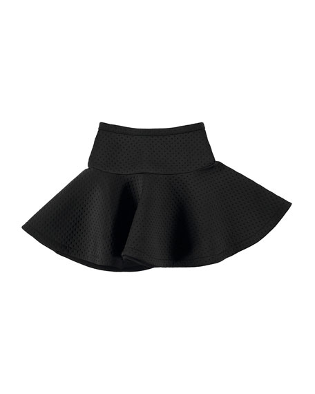 Britani Perforated Scuba Circle Skirt, Black, Size 3T-14