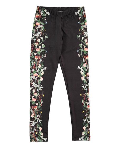 Nikia Digi Flower Stripe Leggings, Black, Size 3-14