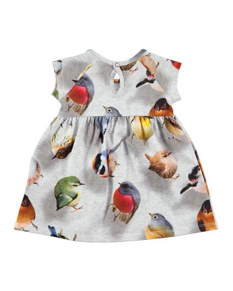 Cille Bouncing Birds Jersey Dress, Gray, Size 12-24 Months