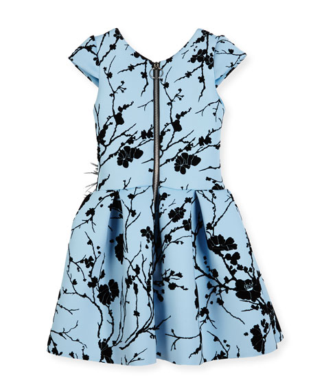 Sky Silhouette Box-Pleated Dress, Blue, Size 7-16