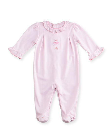 Kissy Kissy Tiny Tutus Embroidered Footie Pajamas, Size