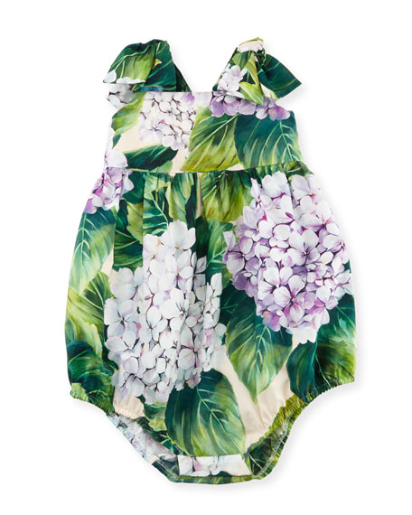 Hydrangea-Print Bubble Playsuit