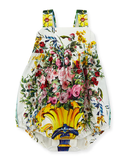 Dolce & Gabbana Floral Vase Bubble Playsuit, White/Multicolor,