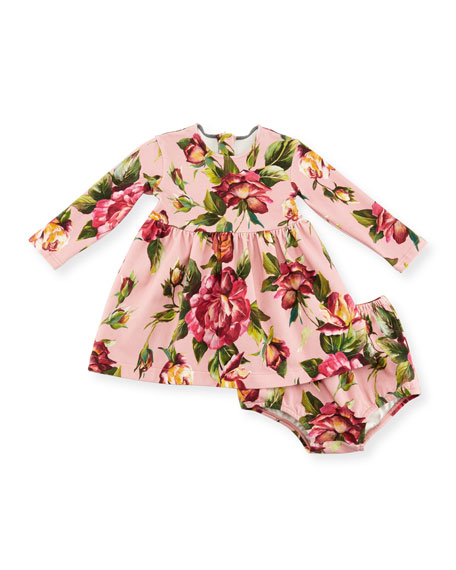 Dolce & Gabbana Long-Sleeve Rose-Print Dress w/ Bloomers,