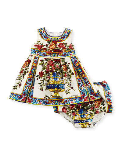Caltagir Flower Vase Shift Dress w/ Bloomers, Size 12-24 Months