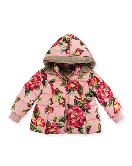 Quilted Rose-Print Parka w/Rabbit Fur Hood, Size 18-24 Months