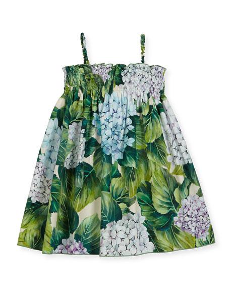 Dolce & Gabbana Hydrangea-Print Poplin Sundress, Size 8-12