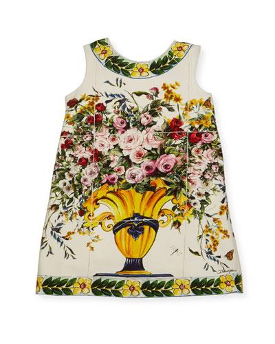 Floral Vase Print Jersey Dress, Size 4-6