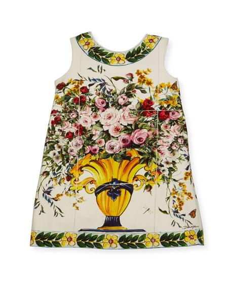 Dolce & Gabbana Floral Vase Print Jersey Dress,