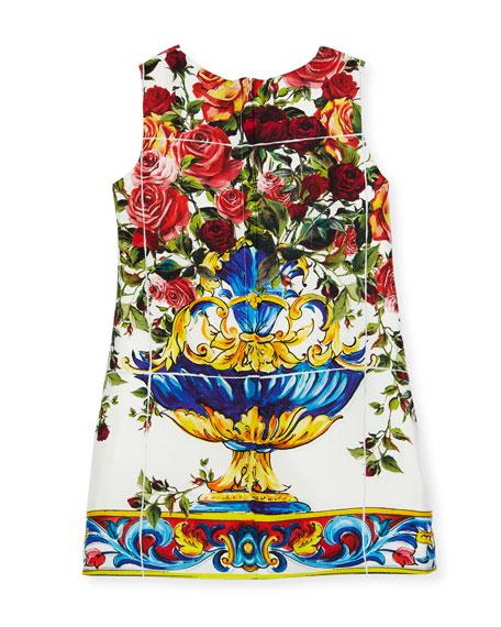 Sleeveless Maiolica-Print Dress, White Pattern, Size 8-12