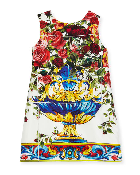 Dolce & Gabbana Sleeveless Maiolica-Print Dress, White Pattern,