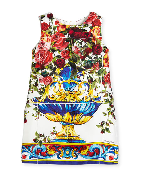 Dolce & Gabbana Sleeveless Maiolica-Print Dress, Size 4-6