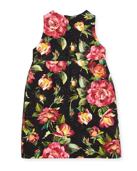Floral Rose Brocade Dress, Black Pattern, Size 8-12