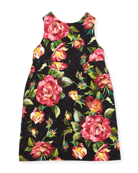 Dolce & Gabbana Floral Rose Brocade Dress, Black